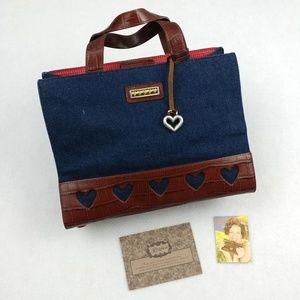 Brighton Cathy Denim & Croco Leather Tote Bag